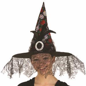 Black Day Of Dead Headband Lace Veil Black Flowers dia de los Muertos 27759