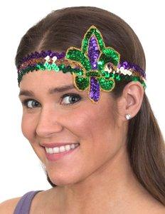 Mardi Gras Costume Set Mardi Gras Sequins Headband and Over Knee Thigh High Striped Stockings for Women Girls Mardi Gras Party Decor